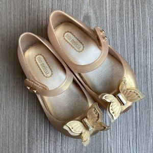 Mini Melissa // Gold Butterfly Shoes // Sz 7